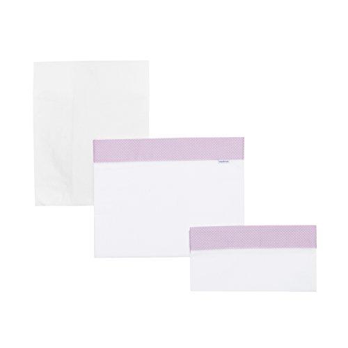 Cambrass 41216 3-teiliges Set für Wiege: Bettlaken Spannbettlaken, Kopfkissen Pic, 80x120 cm, rosa