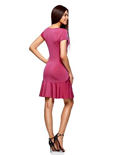 oodji Ultra Damen Jerseykleid mit Volants Rosa (4700N)
