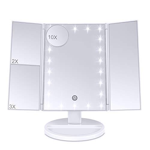 Lirex Lighted Trifold Espejo de Maquillaje, LED Plegable 1X 2X 3X 10X Espejo de Aumento de Maquillaje...