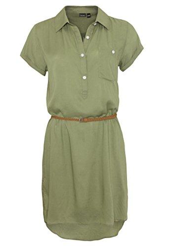 Eight2Nine Damen Blusenkleid mit Flechtgürtel | Leichtes Sommerkleid Knielang aus Viskose Middle-Green XS -