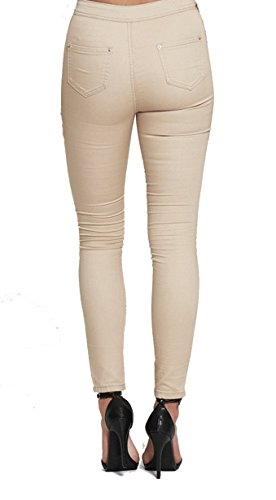 Lily Lulu -  Jeans  - Basic - Donna Beige High Waisted