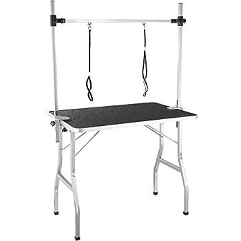 tectake Table de Toilettage Pliante avec Double Sangle et Surface de Travail Antidérapante 402893