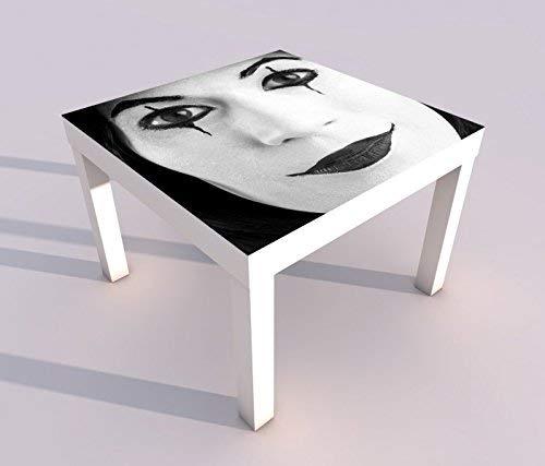 V Druck 55x55cm schwarz weiß Horror Clown Maske Pantomime Gesicht Spieltisch Lack Tische Bild Bilder Kinderzimmer Möbel 18A1527, Tisch 1:55x55cm ()