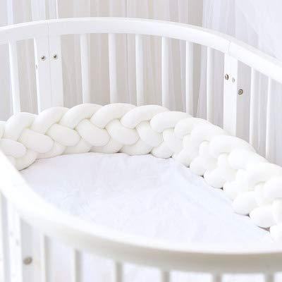 EXQULEG 220cm Baby 4 Weben Bettumrandung Nestchen Stoßstang Kantenschutz Kopfschutz für Babybett Bettausstattung Kinderbett (Weiß)