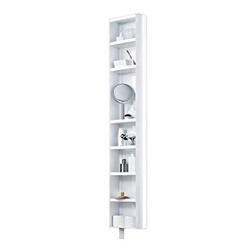 Jan Kurtz 180° Multi Tube Regal mit Spiegel drehbar, weiß glänzend 190x35x20cm 8 Böden 7 Böden...