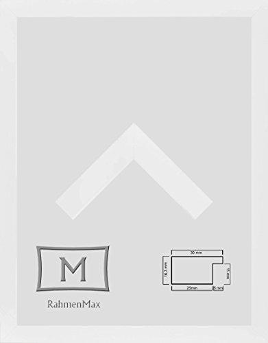Morena Holz Werkstoff Bilderrahmen 24 x 32 cm modernes sehr eckiges Profil 32 x 24 cm grosse Farbauswahl jetzt: Weiß Matt mit Kunstglas klar 1 mm