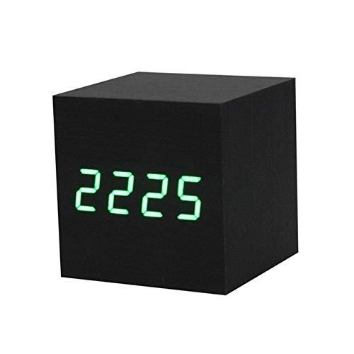 PXQOV Holz Wecker Dual Stromversorgung Digital Led Schwarz Holz Holz Schreibtisch Alarm Braun Uhr Sprachsteuerung Für Home Office Kinder B -