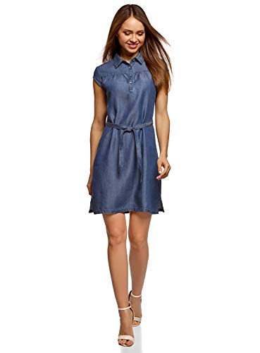 oodji Collection Mujer Vestido de Lyocell con Cinturón, Azul, ES 44 / XL