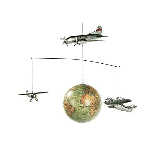 Authentic Models - Mobile Rund um die Welt mit Flugzeugen und Weltkugel im Retrostil