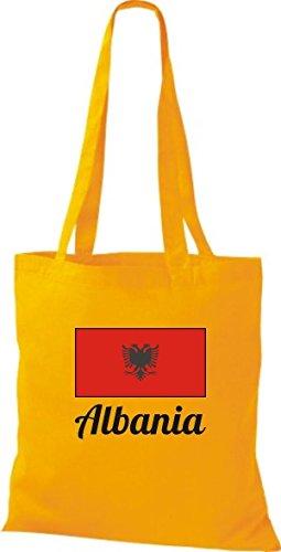 T-shirt In Tessuto Borsa In Cotone Countryjute Albania Alabania Colore Rosa Dorato Giallo