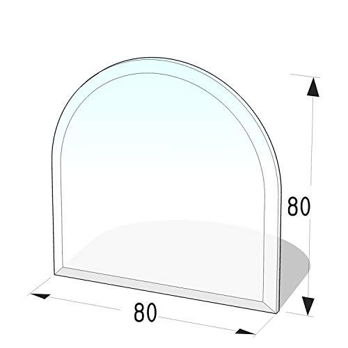Kamin Glasplatte 8 mm 'Zunge 5' mit Facette - 800 x 800 x 8 mm Glasbodenplatte Rundbogen ESG bis 700 kg belastbar -