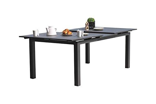 DCB GARDEN Table avec Rallonge automatique Gris Anthracite 190 x 110 x 73  cm ALU-MIAMI-TBALU