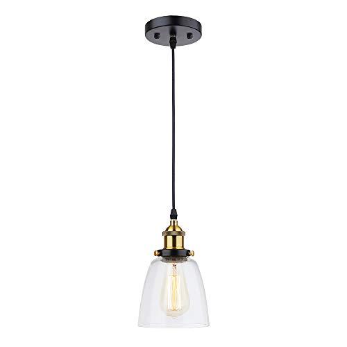 Tomshine Glas Pendelleuchte, Vintage LED Hängeleuchte Industrial, E26/E27 Leuchtmittel wählbar, für Küche Esszimmer Wohnzimmer (Birne nicht erhaltend) -