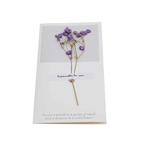 Vektenxi Hochzeits-Trockenblumen-Einladungs-Postkarten-Hochzeits-Geburtstagsfeier-Festival-Gruß-Karte Langlebig und praktisch