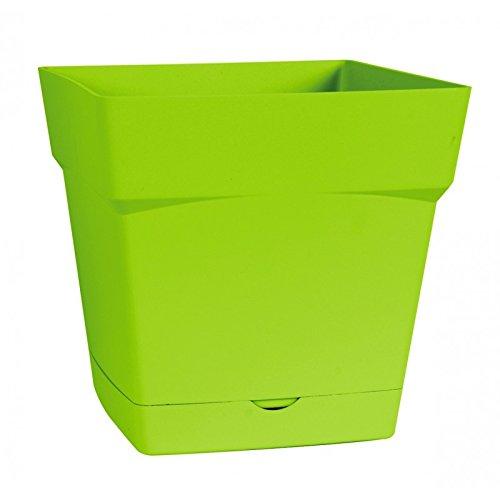 EDA Plastiques Pot TOSCANE carré avec Soucoupe clipsée 13641 V.PI SX6 Pistache 17,4 x 17,4 x 17 cm