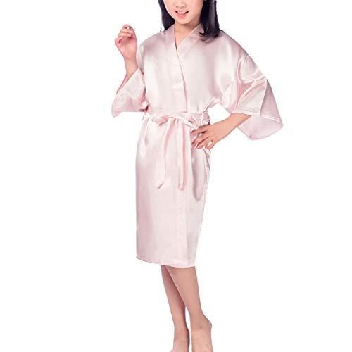 Deloito Kinder Seiden Pyjama Unterwäsche Jungen Mädchen Nachtkleid Schlafanzug Pure Farbe Bademantel Nachthemd Dessous Kimono-Roben Nachtwäsche (Rosa,Small) -