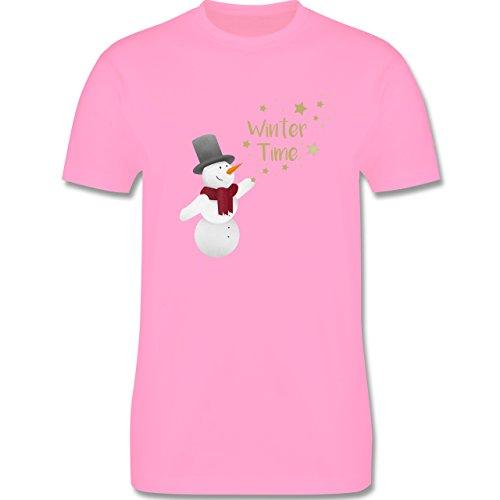 Weihnachten & Silvester - Schneemann Winterzeit - Herren Premium T-Shirt Rosa