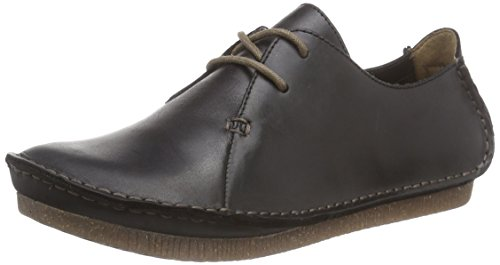 Clarks Janey Mae, Damen Derby Schnürhalbschuhe, Schwarz (Black Leather), 41.5 EU