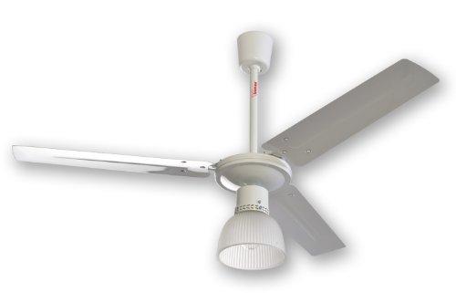 Ventilatore da soffitto con luce Bimar VSM11 Corpo in metallo 3 pale in metallo verniciato Diametro 120cm 1 luce attacco E27 max 60W non inclusa Paralume vetro satinato Motore 65W 3 velocità Regolatore a parete incluso Selettore rotazione orario/antiorari