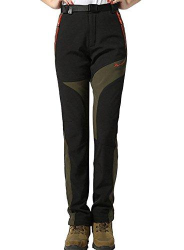 Damen Softshellhose Wasserdichte Wanderhose Trekkinghose Winter Outdoor Funktionshose, Schwarz, Gr.- EU-M/Asia-2XL