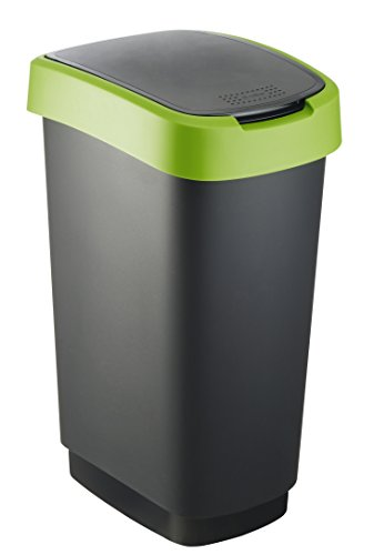 Rotho Twist Mülleimer 50 l, Kunststoff (PP), schwarz / grün, 50 Liter (40,1 x 29,8 x 60,2 cm)