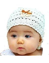LadyMYP©Handgemachte Strickmütze, Babymütze, Kindermütze, Hüte, 100% Wolle, weiße Mütze mit oranger Schleife