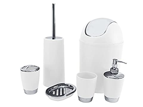 SQ Professional Badezimmer-Zubehör-Set, Weiß, 6-teilig