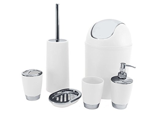 sq professional bathroom accessory set white 6 piece - White Bathroom Accessories Uk