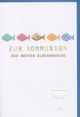 Kommunionkarte Fische bunt und Kelch