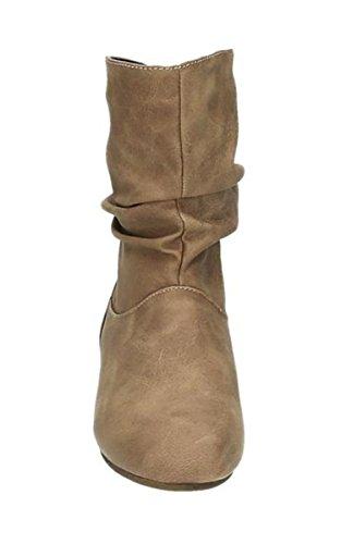 Damen Stiefeletten Cowboy Western Stiefel Boots Flache Schlupfstiefel Schuhe 89 Khaki