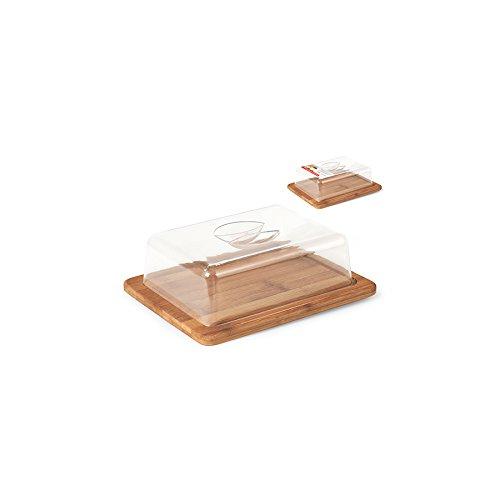 H&H 9719525 Porte Fromage rectangulaire, Plastique/Bamboo, Transparent/Marron