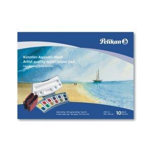 5 x Pelikan Aquarell-Malblock FR 4/10 24x34cm 250g/qm 10 Blatt Fein-Torchon