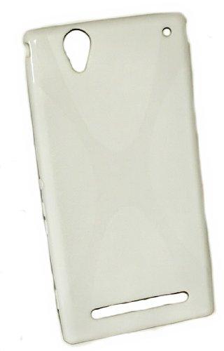 Design X-Rubber Silikon TPU Cover Case - Weiß - Handy Hülle Kappe kompatibel mit Sony Xperia T2 Ultra - T2 Ultra Dual