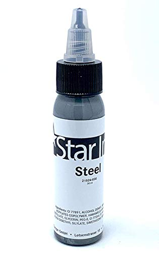 STAR INK - STEEL - Stahl - deutsche Premium Tattoofarbe - 30ml - made in Germany mit Zertifikat - INKgrafiX® - IG50779 Silber
