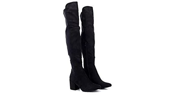 0072ef471e9 ShuCentre Ladies Truffle Collection Block Heel Knee High Boots ...
