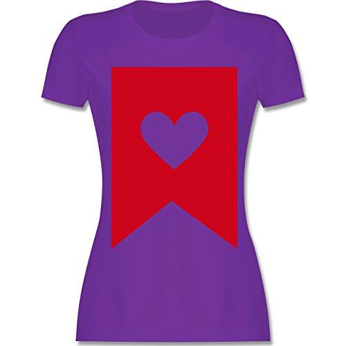 Symbole - Herz - tailliertes Premium T-Shirt mit Rundhalsausschnitt für Damen Lila