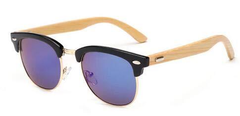 DXXHMJY Sonnenbrillen Klassische Männer Sonnenbrillen Holz Bambus Retro Sonnenbrillen Visier Brillen Frauen Cat Eye Personalisierte High-End-Sonnenbrillenschwarz und blau