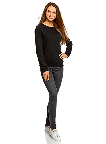oodji Ultra Donna Felpa Basic in Cotone Nero (2900N)