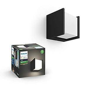 Philips Hue White LED Wandleuchte Fuzo (quadratisch block), für den Aussenbereich, dimmbar, warmweißes Licht, steuerbar via App, kompatibel mit Amazon Alexa (Echo, Echo Dot)
