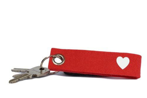 Filz Schlüsselanhänger in Rot mit Herz - Zeichen des Dankes (100% Wollfilz) (100% Wollfilz Herz)