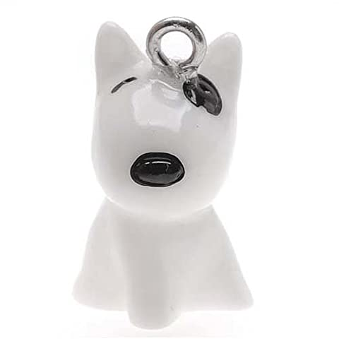 Hand Painted 3-D Seated Bull Terrier Puppy Dog Charm Lightweight 20mm (1)