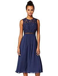 TRUTH & FABLE Damen Midi A-Linien-Kleid aus Spitze