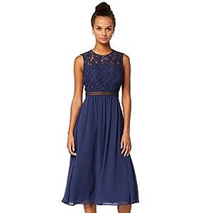 Amazon-Marke: TRUTH & FABLE Damen Midi A-Linien-Kleid aus Spitze