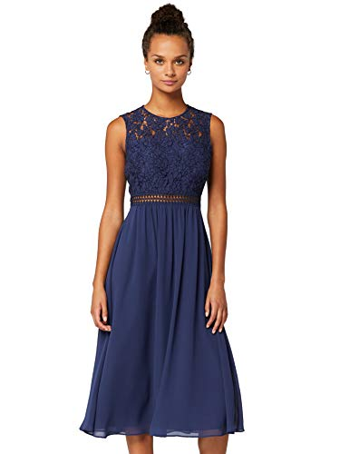 TRUTH & Fable Lace Trim Bridesmaid Midi Hochzeitskleid, Blau (Blue), 38 (Herstellergröße: Medium)