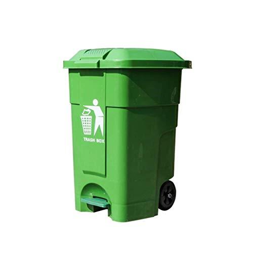 AINIYF Kunststoff-Papierkorb, Papierkorb mit Wagen, Gewerbepark Fabrik Platz Geschäft Trash Can 46,5 * 43,4 * 62cm Komfortabler Dresser (Color : Green, Size : 46.5 * 43.4 * 62CM)