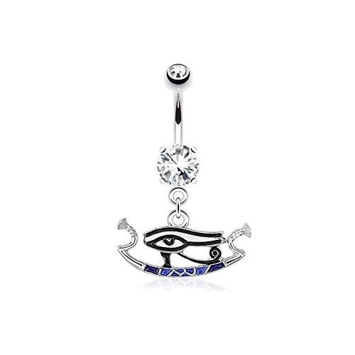 Piercing Nombril quirúrgico capacidad acero y Cristal, diseño con ojo de Horus-Egipto