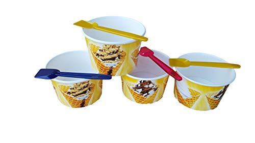 Kram 50Stück Tasse + Löffel Ice Cream 130ml Schüssel Klein Container Takeaway Fast Food Einweg Box Deckel Aufbewahrungsbox für Kinder Kid Party (Made Cream Ice Home Container)