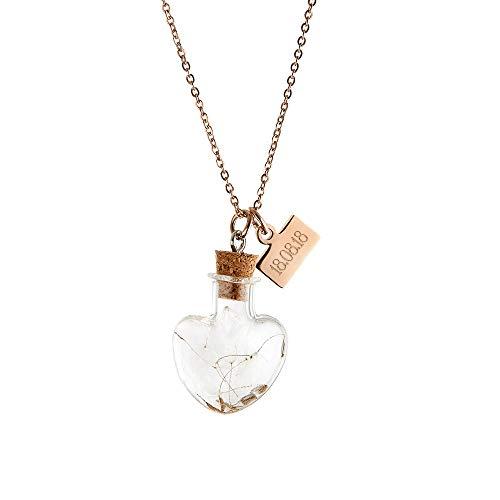 Gravado Kette aus Edelstahl mit 2 Anhängern, Herz-Flasche und Plättchen, Personalisiert mit Datum, inkl. Geschenkbox, Damen Schmuck