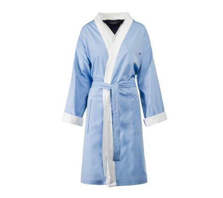 Tommy hilfiger accappatoio kimono con cappuccio tg s m l xl xxl 100% spugna puro cotone uomo donna chambray (blue, m - 46/48)