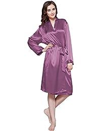 LILYSILK Robe de Chambre en Soie pour Femme Peignoir à Manches Longues Style Classique au Genou 22 Momme